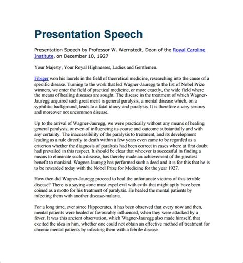 8 Presentation Speech Exle Templates Sle Templates Award Presentation Speech Sle