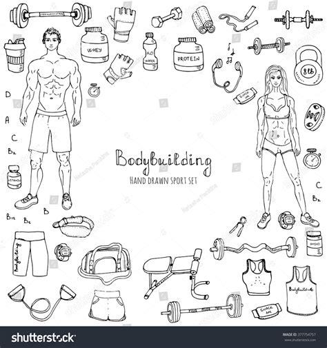 doodle strong doodle bodybuilding set vector stock vector
