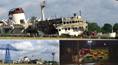 party boat on tyne former newcastle party boat tuxedo royale on fire tyne
