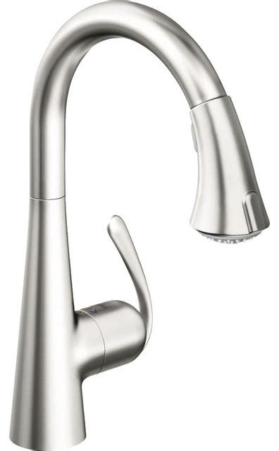 grohe ladylux kitchen faucet grohe 32298sd1 real steel ladylux 3 dual spray pull faucet transitional kitchen
