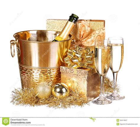 new year s eve chagne and presents stock image image