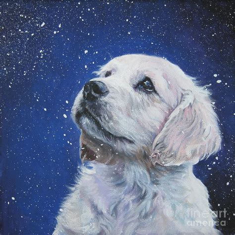 puppy painting golden retriever pup in snow painting by shepard