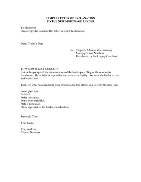 Financial Delinquency Letter Letter Of Explanation Sle Writing Professional Letters