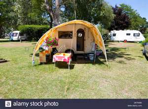 small tab cing trailer caravan with awning at le moulin