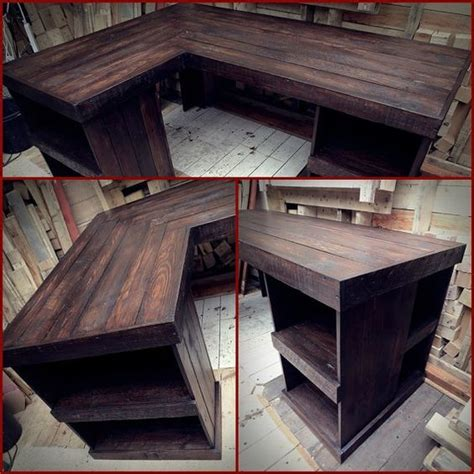 rustic wood corner desk computer desk corner wood office desk reclaimed pallet