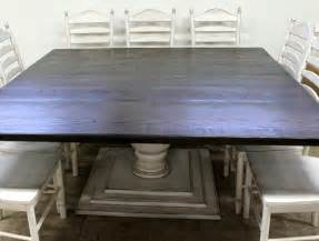 made square farmhouse table with tuscany pedestal by