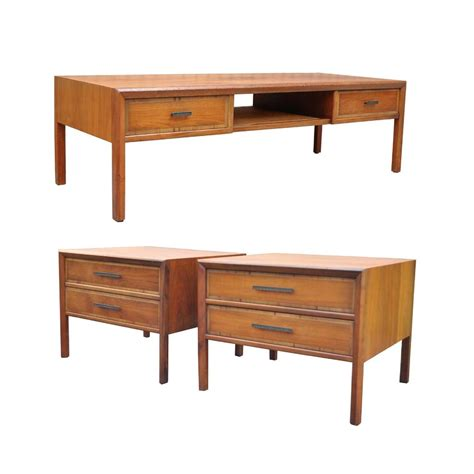 Mid Century Living Room Side Tables Vtg Mid Century Modern 3 Pc Walnut Coffee Table End Table