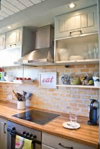 painted brick backsplash remodelaholic tiny kitchen renovation with faux painted brick backsplash