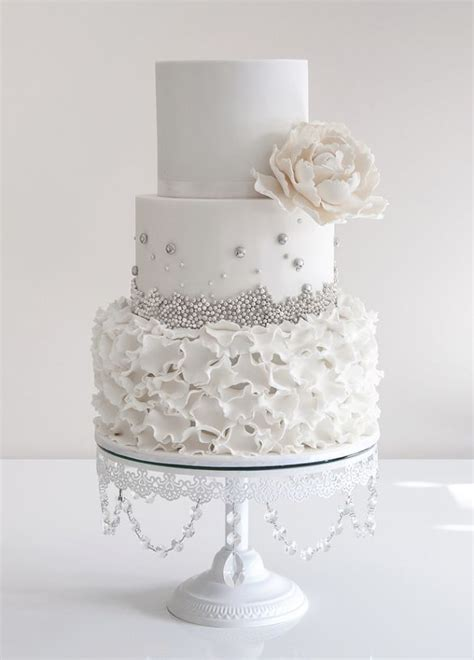 white and silver wedding cake inspiration via