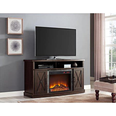 60 electric fireplace ameriwood home barrow creek electric fireplace tv stand for tvs up to 60 quot espresso walmart