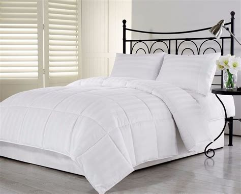 white bedding sets 3pcs hotel dobby stripe goose down alternative comforter