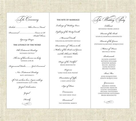 tri fold printable wedding program wedding programs