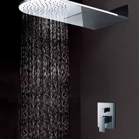modern bathroom solid brass wall mount waterfall rain