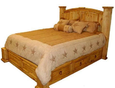 Western Bed Frame Designs Solid Wood Size Storage Bed Rustic Western