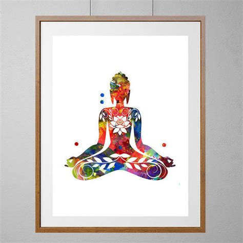 hanging art prints buddha art print yoga illustration from mimiprints by