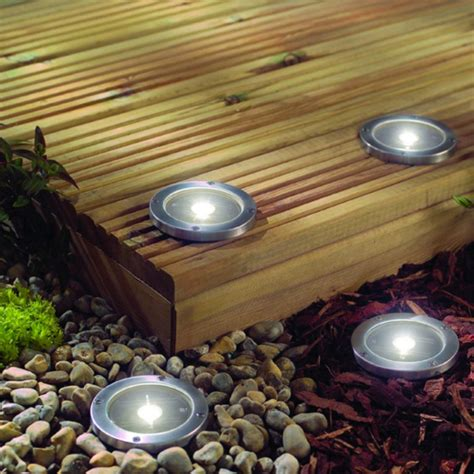 Solar Lighting For Patio Stainless Steel Solar Led Light Deck Ground Lights A Set Of Four Lights Patio Light