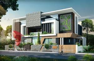 3d ultra modern bungalow exterior day rendering and
