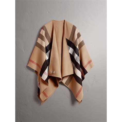Ponco Burberry 3 reversible check merino wool poncho in camel