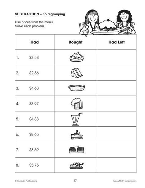 Beginners Math Worksheets by Menu Math Hamburger Hut Worksheets Menu Math Problems