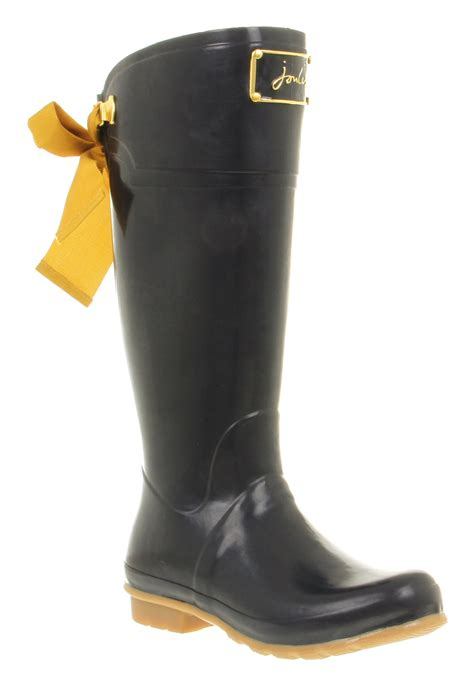 joules boots womens joules evedon welly golden bow detail navy rubber