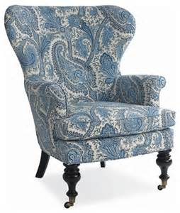 blue and white accent chair blue white paisley wing chair traditional