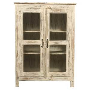 white distressed glass door cabinet iris furnishing
