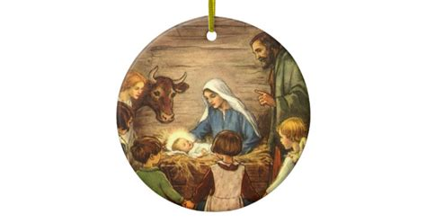 vintage religious nativity w baby jesus ceramic ornament zazzle