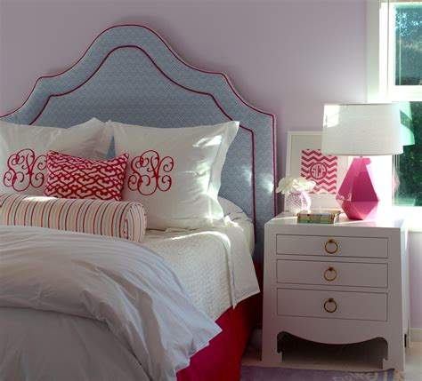 Julie Rootes Interiors by Glamorous Monogram Pillow Traditional Bedroom