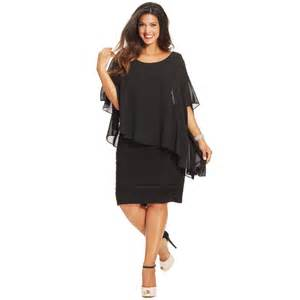 betsy amp adam plus size chiffon capelet sheath dress in