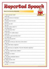 332 free esl reported speech worksheets