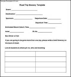 blank trip itinerary template sle blank road trip itinerary template free