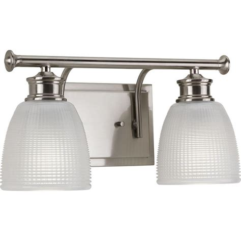 Bathroom Lighting Collections Progress Lighting Lucky Collection 2 Light Brushed Nickel Bath Light P2116 09 The Home Depot