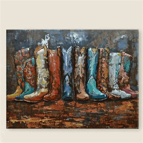 Cowboy Boot Corral Metal Wall Art