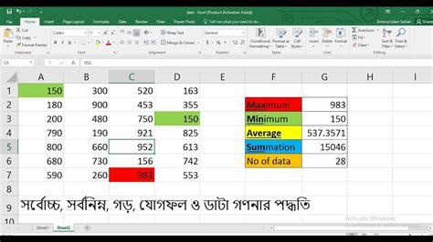excel bangla tutorial excel bangla tutorial maximum minimum summation average