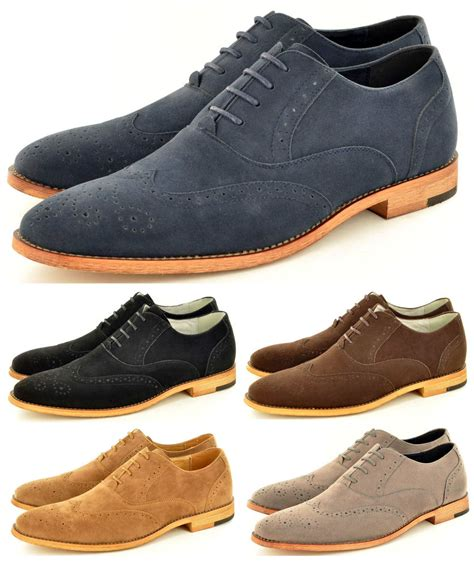 mens suede shoes new mens faux suede casual formal lace up brogue fashion
