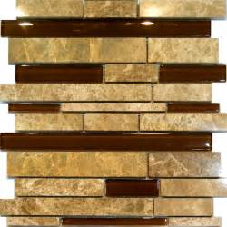 10sf brown beige marble glass random linear mosaic