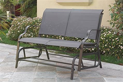 outdoor patio swing chair steel frame grey glider