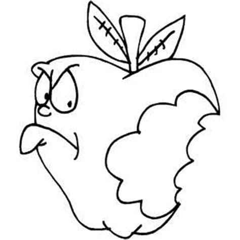 bitten apple coloring page angry bitten apple coloring page