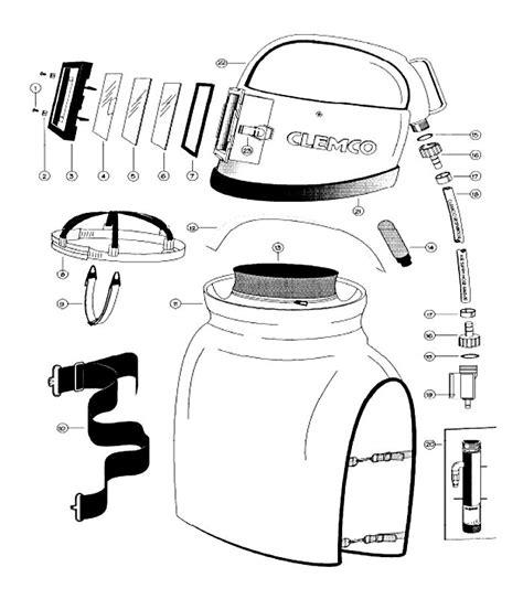 Helmet Clemco Apollo 100 replacement parts spare parts f clemco blast helmet