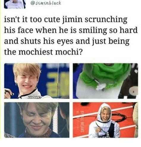 Too Cute Meme Face - jimin black isn t it too cute jimin scrunching his face