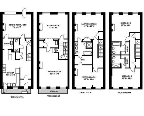 row house floor plan brownstone row house floor plans kitchen inspiration