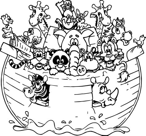 coloring page of noah s ark with animals noah ark all animal coloring page wecoloringpage