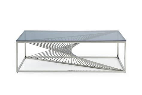 Steel Coffee Table Modrest Modern Glass Stainless Steel Coffee Table