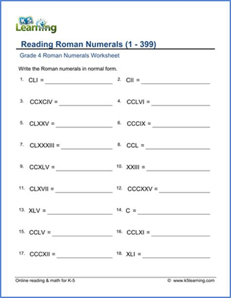printable math worksheets roman numerals grade 4 roman numerals worksheets free printable k5
