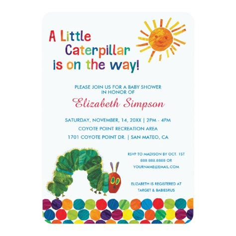 The Very Hungry Caterpillar Baby Shower Card Zazzle Com Hungry Caterpillar Invitation Template