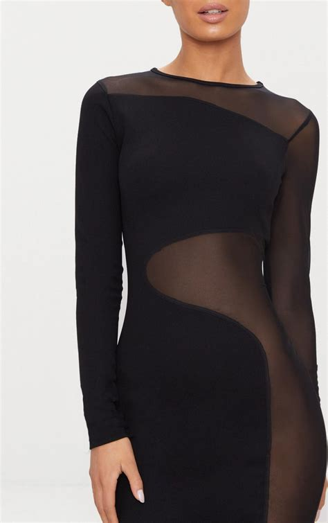 Mesh Panel Sleeve Dress black mesh panel sleeve bodycon dress