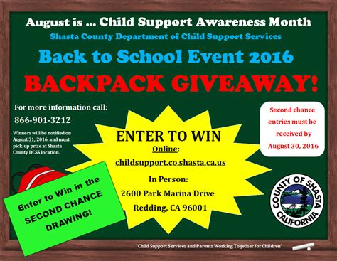 Backpack Giveaway Near Me - shasta county child support services