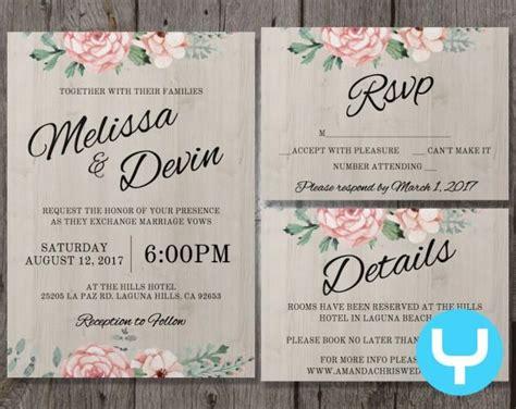 printable wedding invitations app printable floral wedding invitation kit templates rsvp