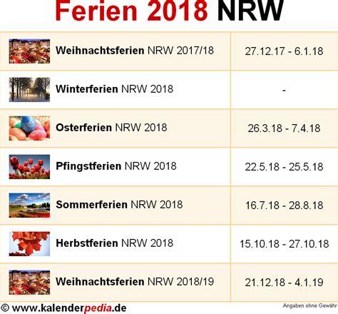 Kalender 2018 Mit Ferien Nrw Ferien Nordrhein Westfalen Nrw 2018 220 Bersicht Der