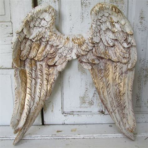 angel wings home decor angel wings wall decor white gold with brown distressing